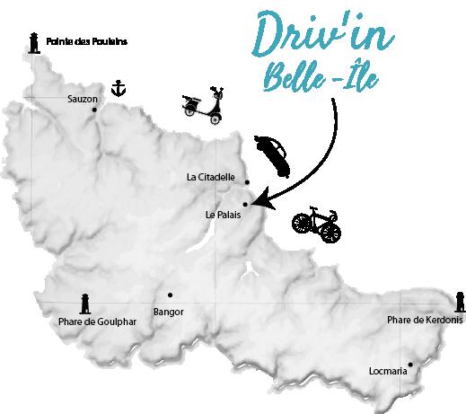 Carte Driv'in Belle-île location de véhicules, actualités - discovering belle-île