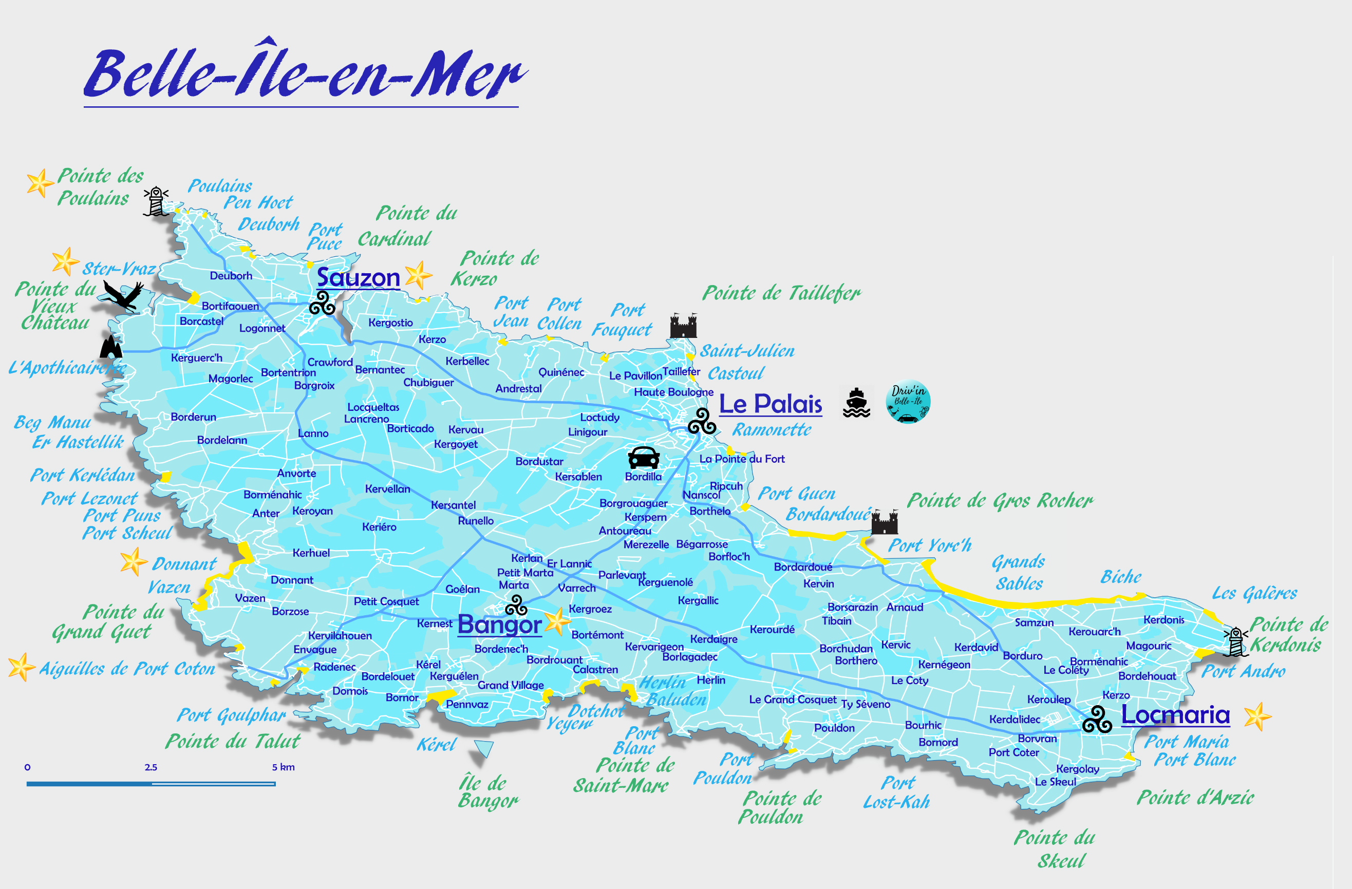 Carte Belle Ile en Mer - Découvrir Belle-Ile