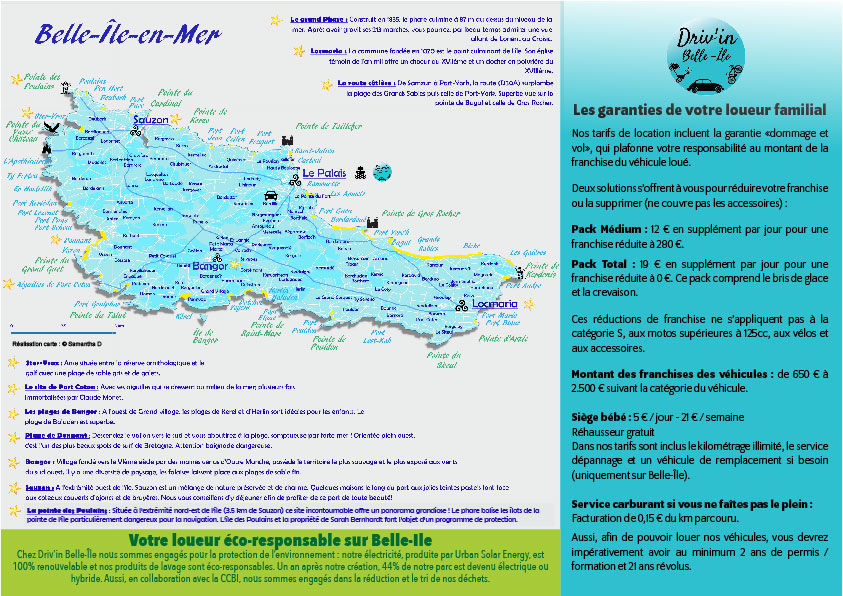 Tarifs Driv'in Belle-Île 2020 prices tarifas