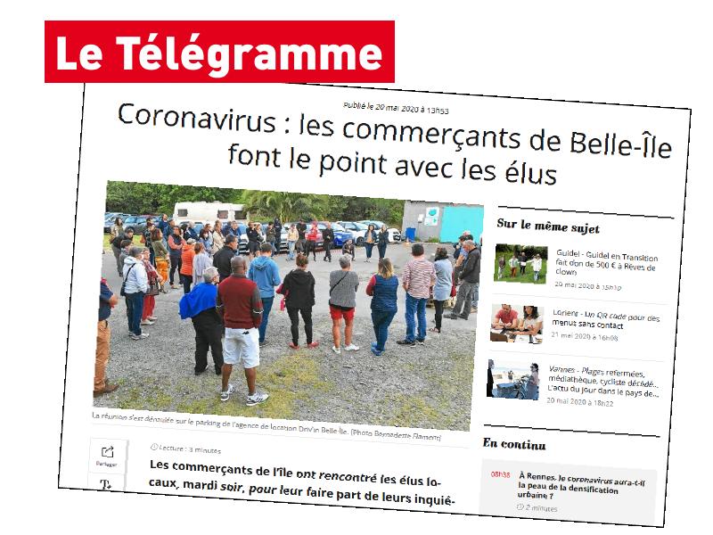 télégramme Belle-Île-en-Mer Driv'in Belle-Île commerçants