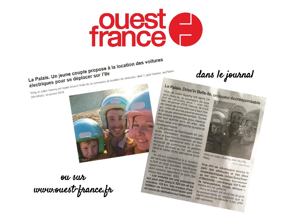 Parution journal Ouest France - Driv'in Belle-Île-01