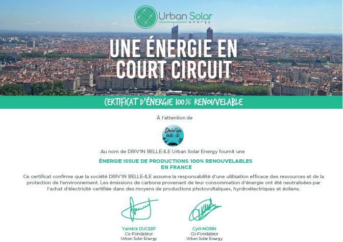 Certificat d'énergie renouvelable de la part de Urban Solar Energie