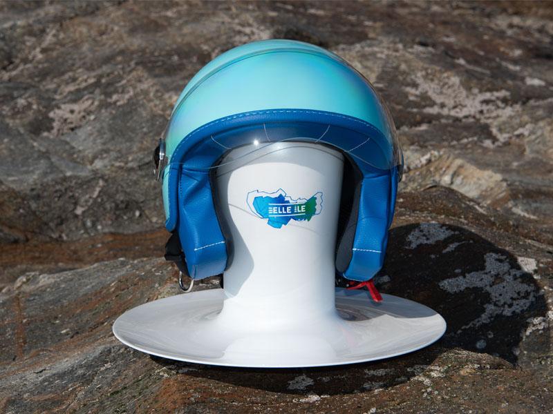 Support Woodjee casque bleu